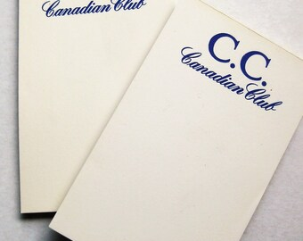 """Two vintage Canadian Club whisky notepads. 5-1/2"""" x 3-1/4"""". Approx. 50 sheets ea. Canadian Whisky. Whiskey. Advertising.  Cocktails."""