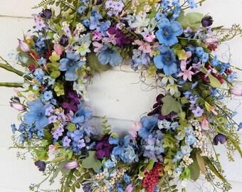Summer Wreath, Primitive Country Cottage Wreath,Flower Wreath, Centerpiece,Front Door Wreath,Plum& Blue Wreath,Flower Wreath-Choice of Sizes