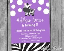 Playful Zebra purple birthday/ baby shower printable 5x7 4x6 or 4x5.5 party invitation