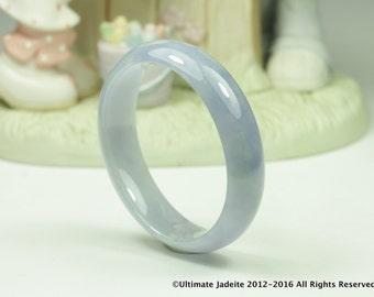 Jadeite Jade Bangle - Oval 55mm Blue Lavender Off-White (Grade A)