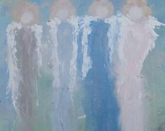 Original Abstract acrylic angel painting