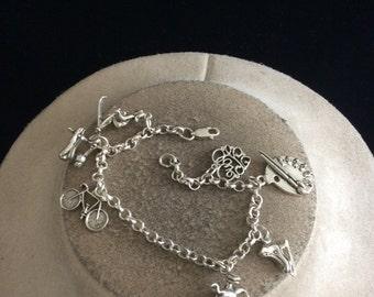 Vintage Sterling Silver Sports Love Turtle Themed Charms Bracelet