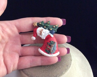 Vintage Christmas Santa Holding Tree Pin