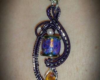 Purple Opalescent Glass and Wire Pendant