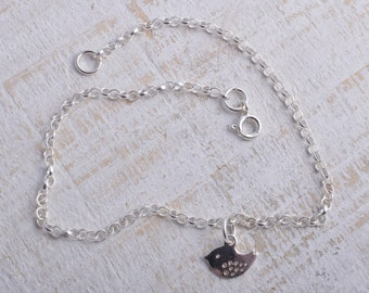 Silver bird ankle bracelet sterling silver 925 little bird charm chain ankle bracelet anklet