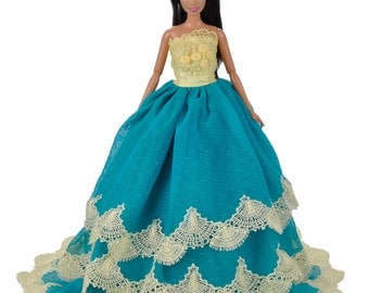 Handmade Dolls Clothes Wedding Dress Blue Lace Party Gown For Barbie Dolls