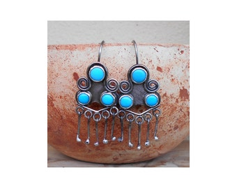 Sterling Silver Earrings, Copy of Pueblo earrings, Turquoise earrings, 925 silver earrings