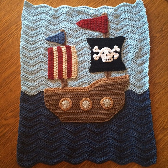 Perfect Baby Boy Blanket Throw Pirate Ship Ripple Granny