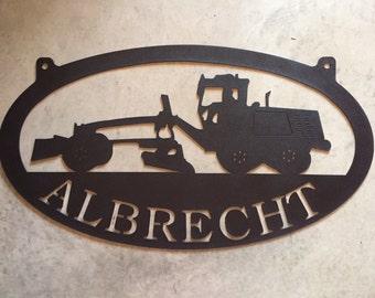 Metal Roadgrader sign with ALBRECHT in black finish