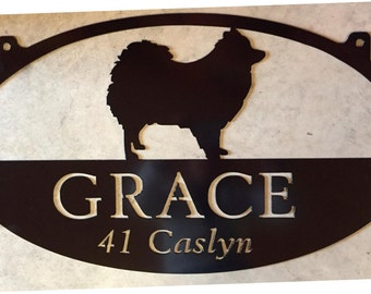 Personalized Metal Sign with Pomeranian Dog customized with your name