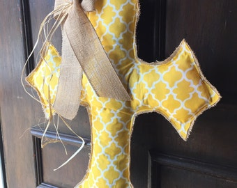 Yellow Cross Burlap Door Hanger