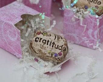 Gratitude inspirational art rock | friends family gift box |miniature garden and planter art