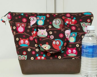 Insulated Lunch Bag,Vinyl Bottom,Owl Lunch Bag,Nylon Lining, Inner Zipper Pocket, Reusable Lunch Bag, Work Lunch Bag, School Lunch Bag.