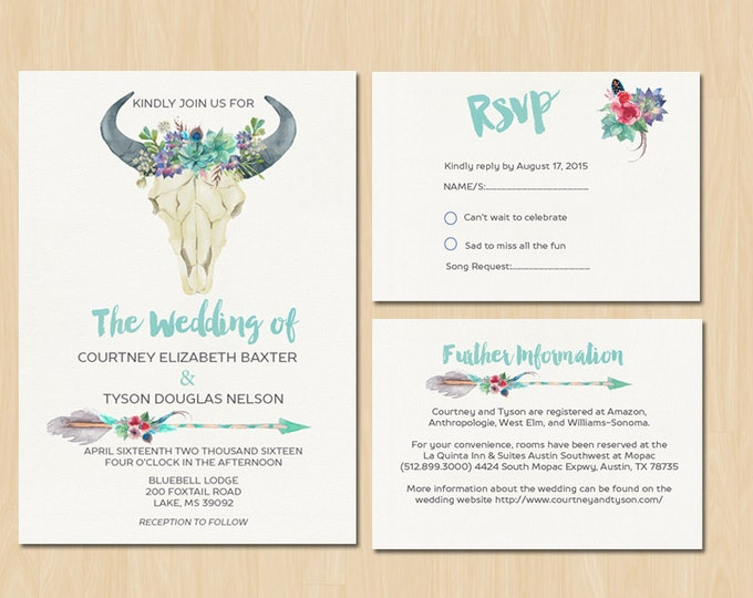 Boho Floral Bull Head Wedding Suite - PRINTABLE Invitation // RSVP // Information Card // Full suite or separate purchase