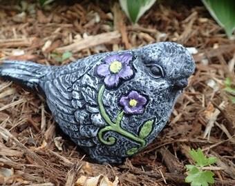 Beautiful Cement Bird Statue! Bird Garden Decoration with Dark Purple Flowers