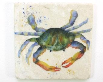 Crab Absorbent Tumbled Stone Coaster Original Watercolor Sea Life