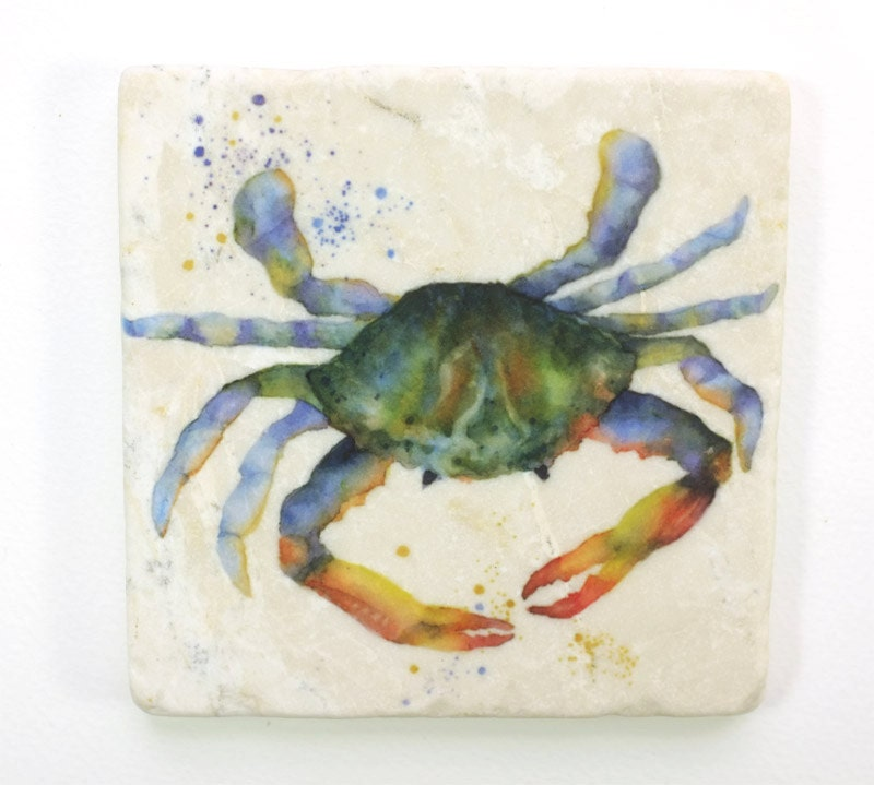 Crab absorbent tumbled stone coaster original watercolor sea - Stone absorbent coasters ...