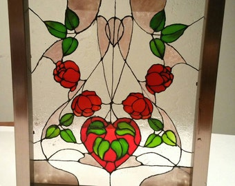 stained glass windows Red roses flowers glass painting made in Québec
