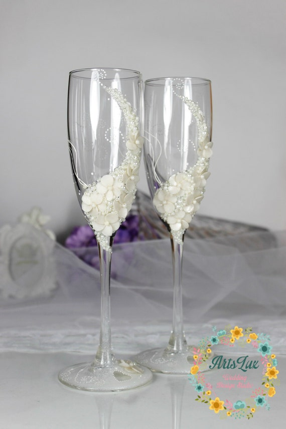 Ivory Wedding Champagne Glasses Gentle Wedding Toasting By ArtsLux