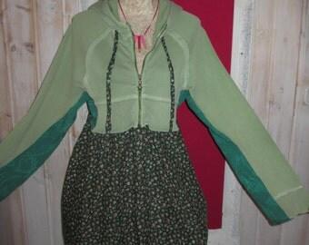Plus size Boho Shabby Hoodie Tunic Dress Green Cotton Upcycled
