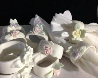 Delicate Pastel Floral Bone China Napkin Rings Set of Nine