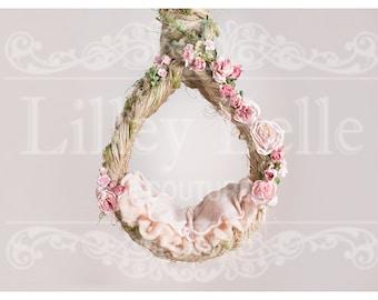 Digital prop/backdrop (Chunky Rope Hanging Basket Pink Floral)