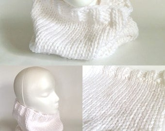 Chunky Cloud White Knit Cowl - READY TO SHIP