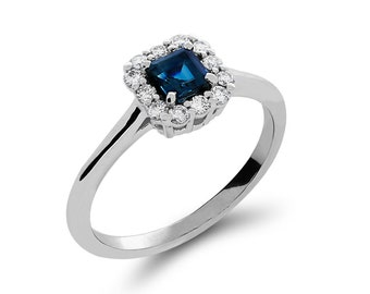 14k solid white gold diamond and sapphire ring. promise ring, engagement ring, fancy ring