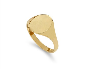 14k solid gold baby signet ring. pinkie ring, engravable ring, signet ring.