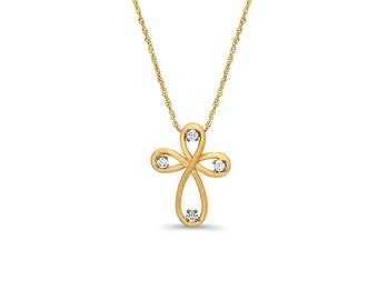 """14k solid gold cross pendant with cubic zircon stones on an 18"""" 14k solid gold singapore chain"""
