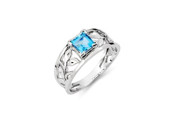 14K White Gold Blue Topaz Ring, White Gold Ring, Blue Topaz Ring, Gold Ring, Gold Jewelry, Gemstone Ring, Fancy Ring, Blue Topaz, 14K Gold