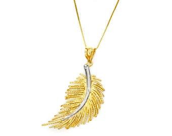 "14k solid yellow and white gold feather pendant with 18"" gold box chain. feather pendant"