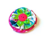 Girls Hair Clip, Hair Bow, Fabric Flower Hair Clip, Turquoise Pink and Lime, Made to Match by 8th Day Studio