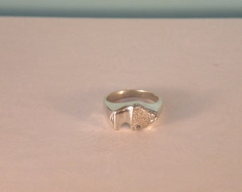 Sterling Silver Bison Ring, Size 6