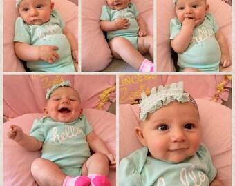 Mint White Green Floral Headband Child Newborn Baby