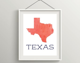 Texas Wall Art, 8x10 Print, Watercolor, Gallery Wall, Home Decor, State Love, Customizable