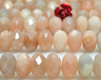 72 pcs of A Grade--Natural Sunstone faceted rondelle beads in 5x8mm