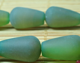 23 pcs of Natural Green agate matte teardrop beads in 10 x 17mm