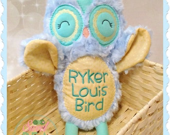Personalized Owl Stuffie - Stuffed animal - Monogram owl - Plush Owl - Personalized Baby Gift - Baby Shower gift - New Baby