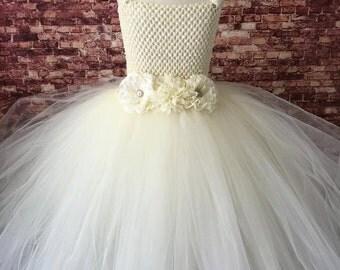 Flower girl tutu, flower girl dress, flower girl tutu dress, ivory tutu dress, pageant tutu dress, ivory flower girl dress, Ivory wedding