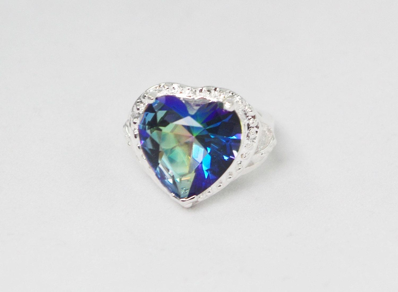 mystic topaz ring heart ring large mystic topaz stone mystic
