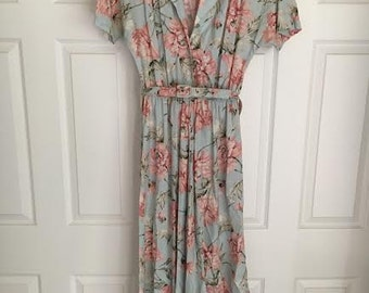 1980's vtg Carol Anderson Classics floral sea foam green and pink floral dress garden party size 8-10