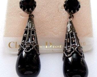 Christian Dior Burgundy Gripoix Glass Drop Post Earrings New (D)