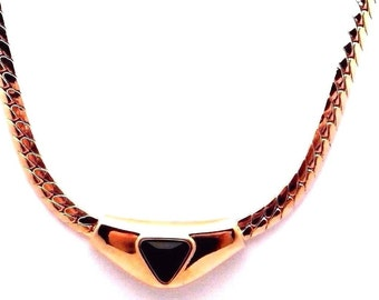 Signed Swarovski Necklace Gold Plated set with Jet Black Crystal New (D)