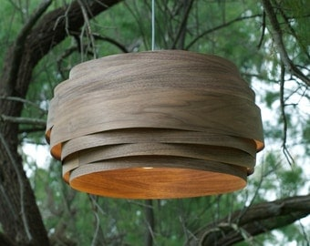 "Modern Light, Pendant light, ""Light Cloud""   Black walnut, Wood Veneer lamp"
