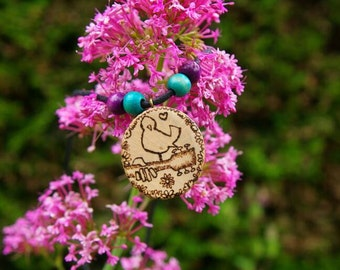 Wooden woodstock necklace peace, love & happiness