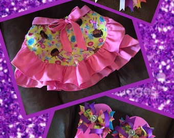 Girls Doc McStuffins Shorts, Flip Flops and Bow Set