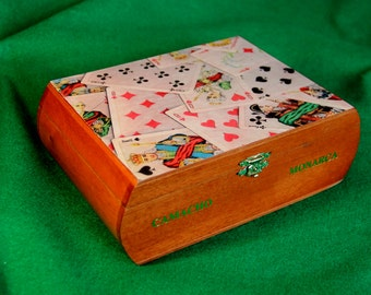Playing Card Deck Storage Box, Keepsake Box, Repurposed Wooden Cigar Box. Decoupaged with Old Playing Cards (Box #70)