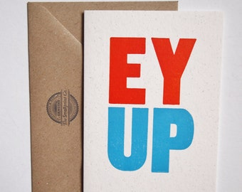 EY UP Derbyshire British UK dialect greeting vintage wood type letterpress card