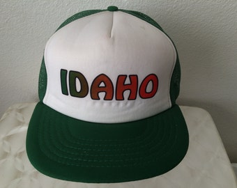 "Vintage Baseball Cap - ""IDAHO"" - green and white - green and orange letters - very good used condition"